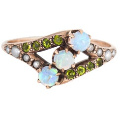 Antique Victorian Demantoid Garnet Opal Pearl Ring Vintage 10 Karat Gold Old