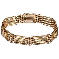 Antique Victorian Diamond 15 Carat Gold, circa 1900 Gate Bracelet