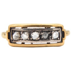 Antique Victorian Diamond 18 Karat Gold 5-Stone Rosecut Ring
