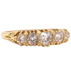 Antique Victorian Diamond 18 Karat Gold Five Stone Ring