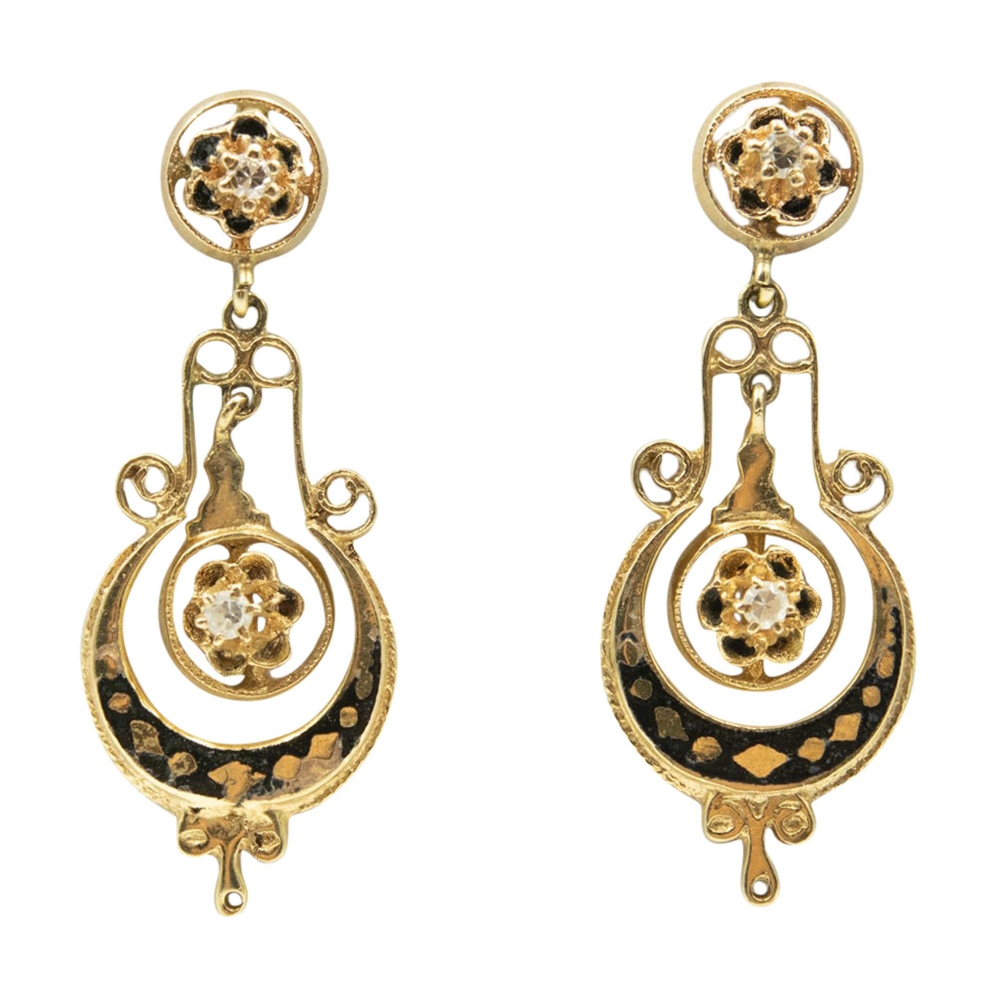 Antique Victorian Diamond and Black Enamel Drop Dangle Yellow Gold Earrings