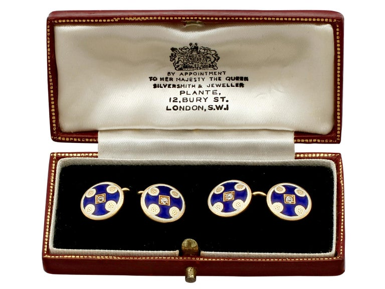 Antique Victorian Diamond and Enamel Yellow Gold Cufflinks For Sale 4