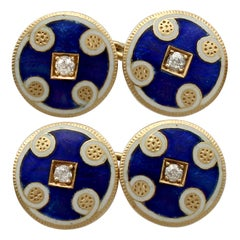 Antique Victorian Diamond and Enamel Yellow Gold Cufflinks
