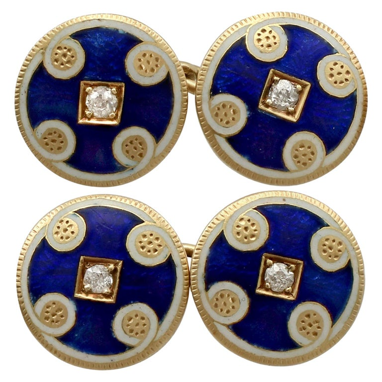 Antique Victorian Diamond and Enamel Yellow Gold Cufflinks For Sale