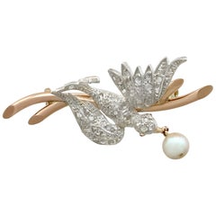Antique Victorian Diamond and Pearl Ruby and Yellow Gold Bird Brooch