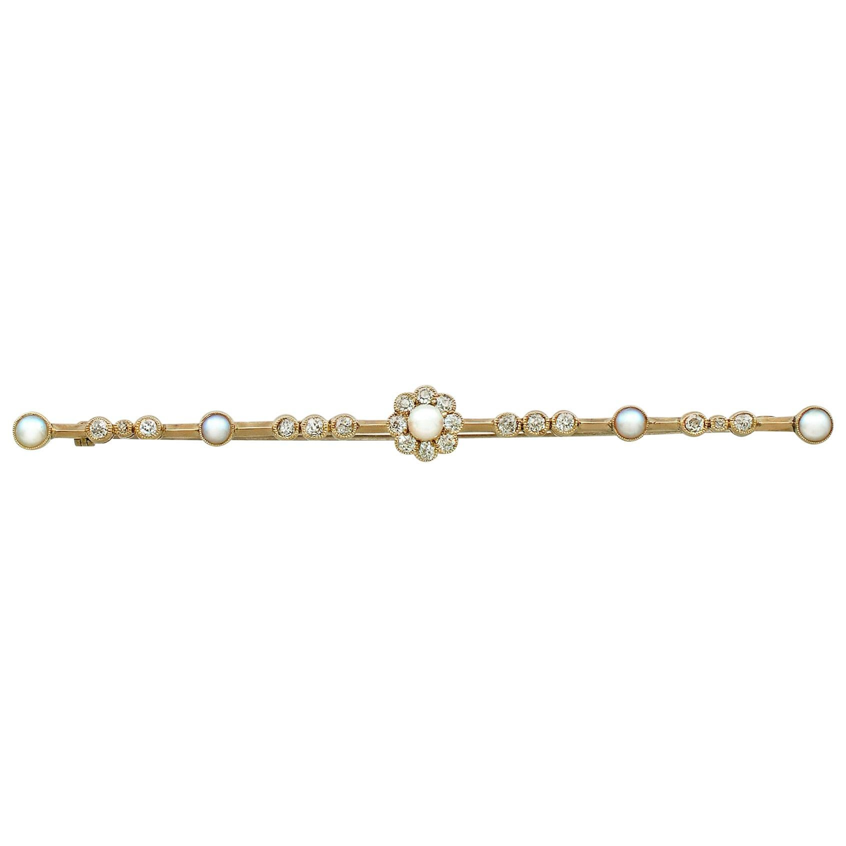 Antique Victorian Diamond and Pearl Yellow Gold Bar Brooch