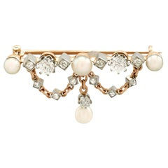 Antique Victorian Diamond and Pearl Yellow Gold Brooch