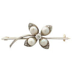 Antique Victorian Diamond and Pearl Yellow Gold Clover Brooch