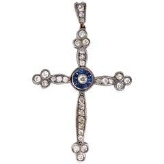 Antique Victorian Diamond and Sapphire Cross Pendant Estate Fine Jewelry