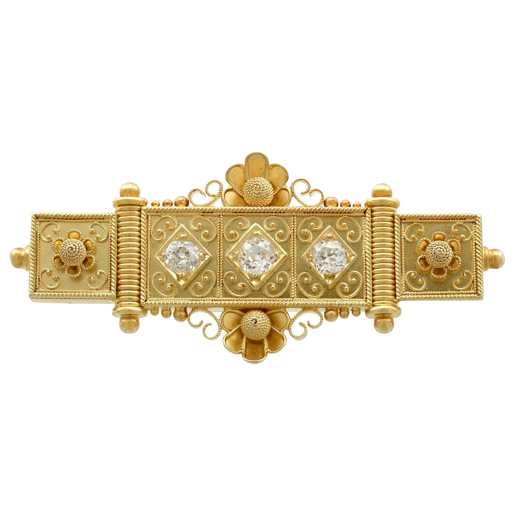 Antique Victorian Diamond and Yellow Gold Bar Brooch