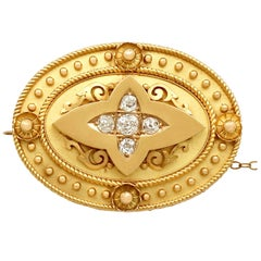 Antique Victorian Diamond and Yellow Gold Brooch or Locket