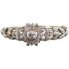 Antique Victorian Diamond Bangle, circa 1890s, Old Cut and Swiss Cut Diamonds