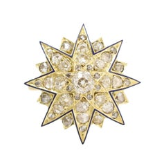 Antique Victorian Diamond Blue Enamel Star Ring