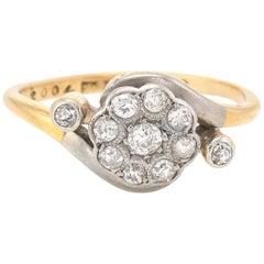 Antique Victorian Diamond Cluster Ring Vintage 18 Karat Gold Platinum Fine