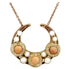 Antique Victorian Diamond Coral Pearl and Yellow Gold Necklace