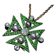Antique Victorian Diamond Demantoid Garnet Pearl Maltese Cross Pendant / Brooch