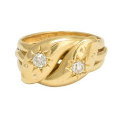 Antique Victorian Diamond Double Snake Gold Ring