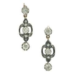 Antique Victorian Diamond Drop Dangle Earrings 3-Stone 2-Tone Gold Silver