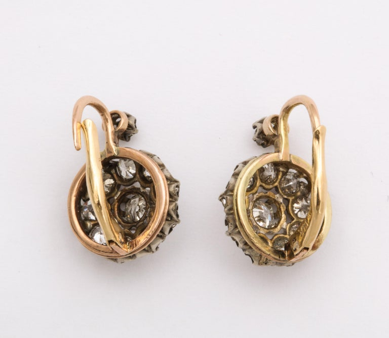 Old Mine Cut Antique Victorian Diamond Drop Earrings For Sale