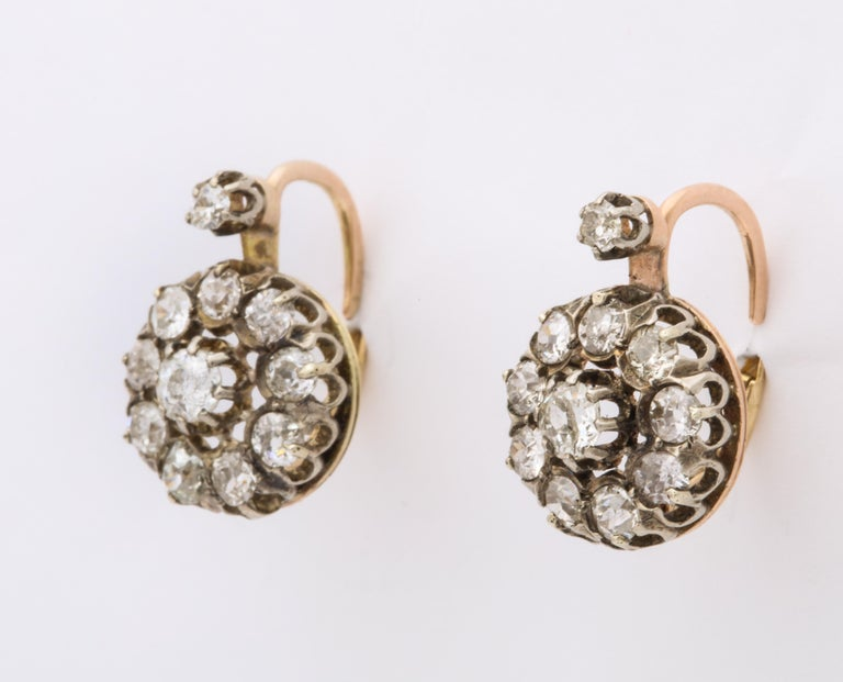 Antique Victorian Diamond Drop Earrings In Excellent Condition For Sale In Stamford, CT