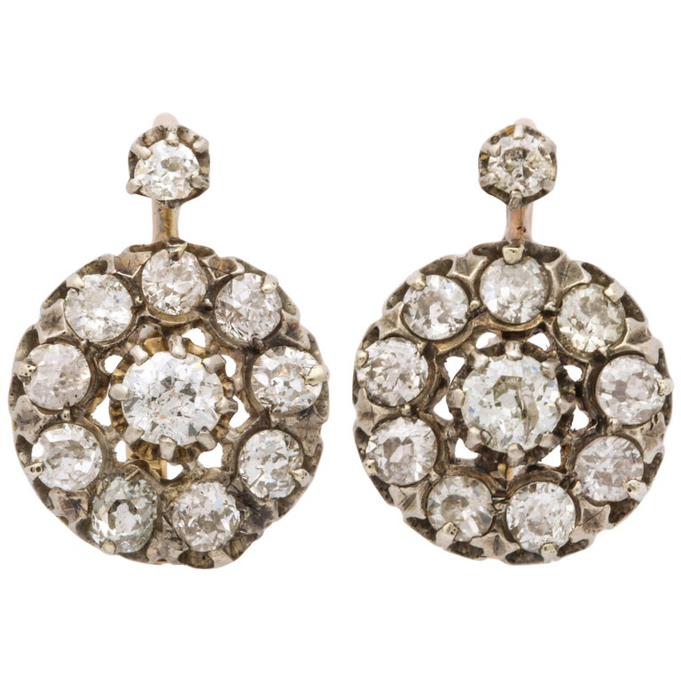 Antique Victorian Diamond Drop Earrings For Sale