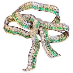 Antique Victorian Diamond & Emerald Bow Brooch