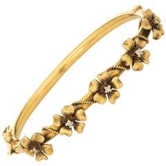 Antique Victorian Diamond Flower Bracelet 14k Gold Bangle Vintage Fine Jewelry