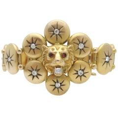 Antique Victorian Diamond Lion Head 10 Karat Gold Bracelet