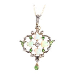 Antique Victorian Diamond Opal Hearts Demantoid Garnet Pendant