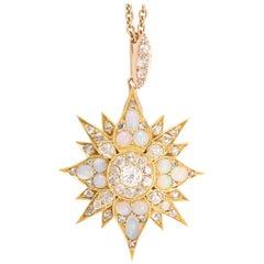Antique Victorian Diamond Opal Star Pendant