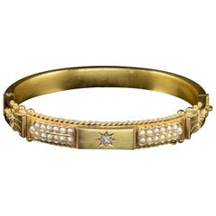 Antique Victorian Diamond Pearl Bangle 15 Carat Gold Dated 1900