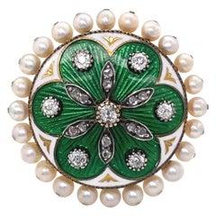 Antique Victorian Diamond Pearl Guilloche Enamel 14 Karat Gold Ring