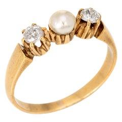 Antique Victorian Diamond Pearl Ring 14 Karat Gold 3-Stone Vintage Jewelry