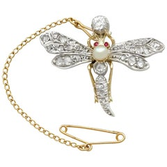 Antique Victorian Diamond Pearl Ruby and Yellow Gold Dragonfly Brooch