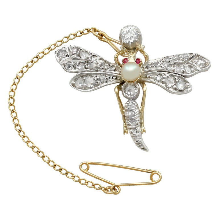 Antique Victorian Diamond Pearl Ruby and Yellow Gold 'Dragonfly' Brooch For Sale