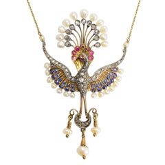 Antique Victorian Diamond Pearl Sapphire Ruby Peacock Necklace