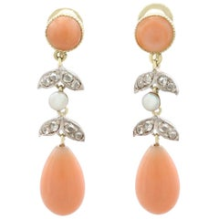 Antique Victorian Diamond, Pink Coral Seed Pearl and Yellow Gold Drop Earrings