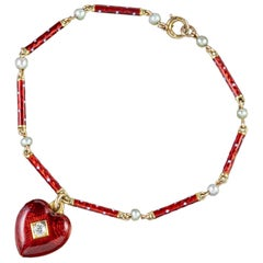 Antique Victorian Diamond Red Enamel Boxed Heart Charm Bracelet, circa 1900