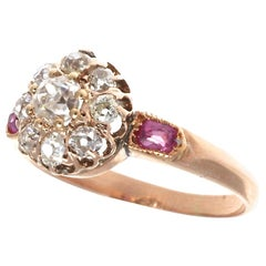 Antique Victorian Diamond Ruby 14 Karat Rose Gold Cluster Ring
