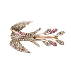 Antique Victorian Diamond Ruby Phoenix Brooch