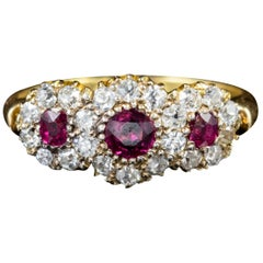 Antique Victorian Diamond Ruby Trilogy Ring, circa 1900