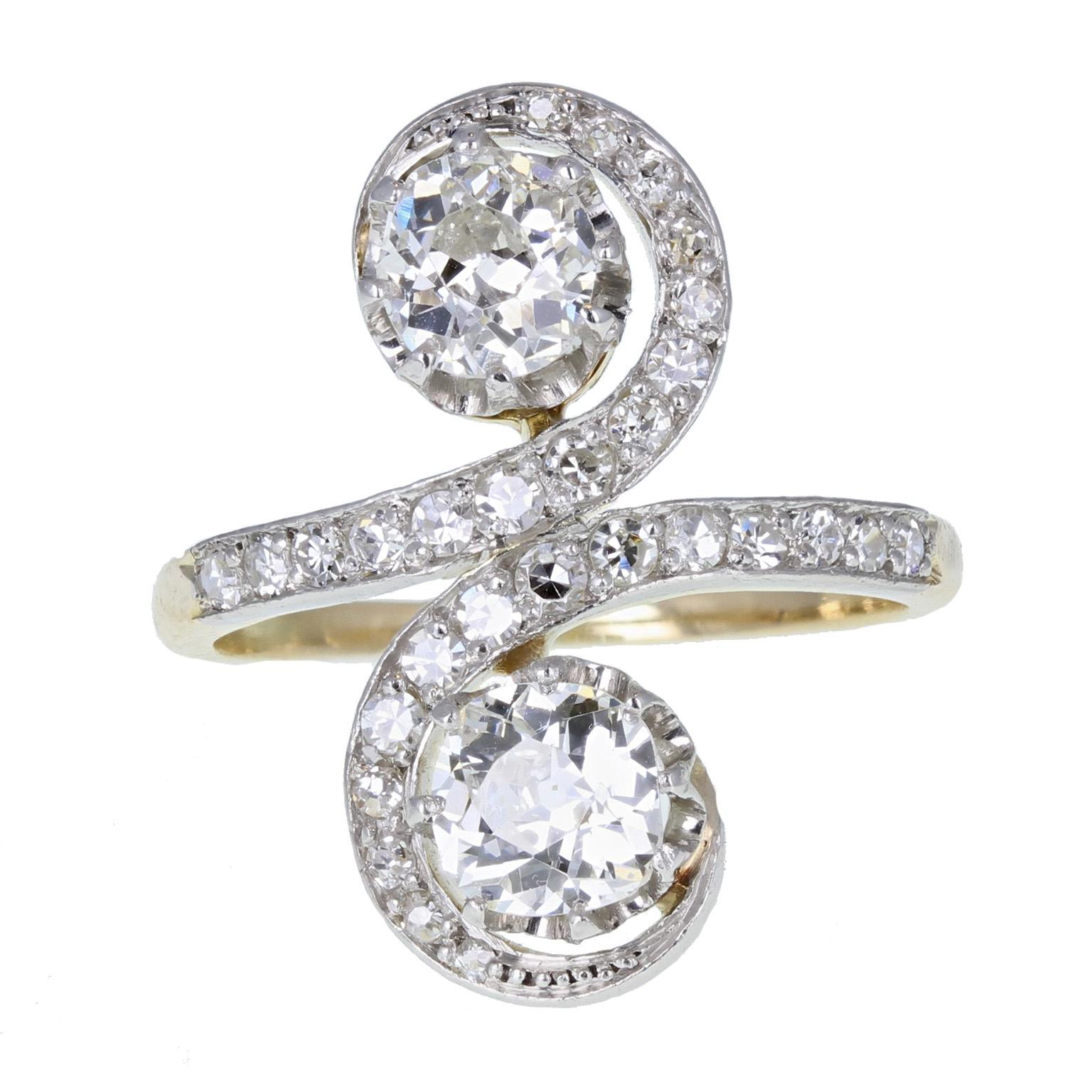 Antique Victorian Diamond Toi-et-Moi Two-Stone Twist Ring