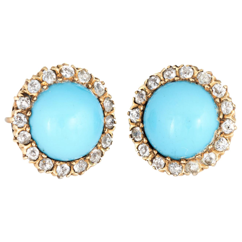 Victorian Diamond Turquoise Halo Earrings Vintage 14 Karat Gold Round Rose