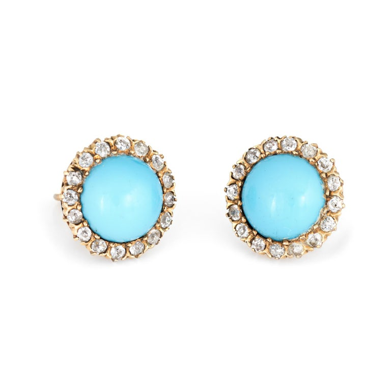 Antique Victorian Diamond Turquoise Halo Earrings Vintage 14 Karat Gold Fine In Good Condition For Sale In Torrance, CA