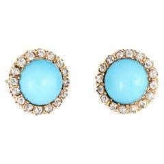 Antique Victorian Diamond Turquoise Halo Earrings Vintage 14 Karat Gold Fine