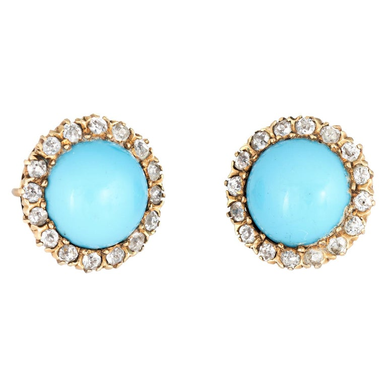 Antique Victorian Diamond Turquoise Halo Earrings Vintage 14 Karat Gold Fine For Sale