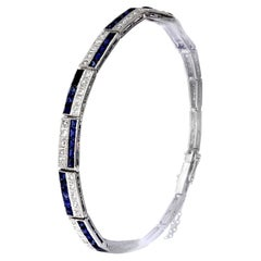 Antique Victorian Diamonds and Sapphire Two-Tier Line Bracelet Set in Platinum