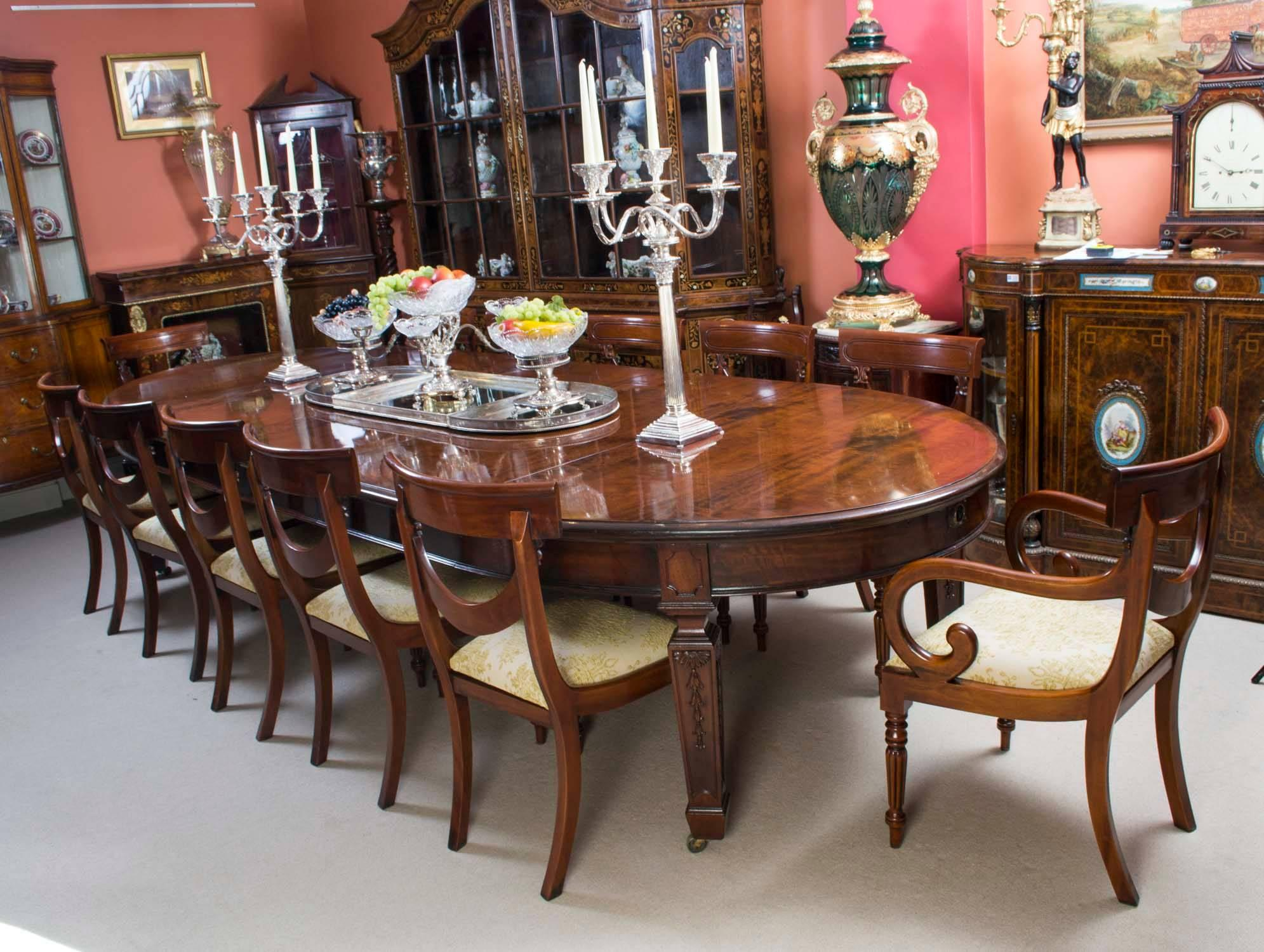 Genial Antique Victorian Dining Table And 12 Chairs 19th Century