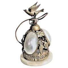 Antique Victorian Dinner Bell with a Figural Bird Handle and Set Abalone Shells
