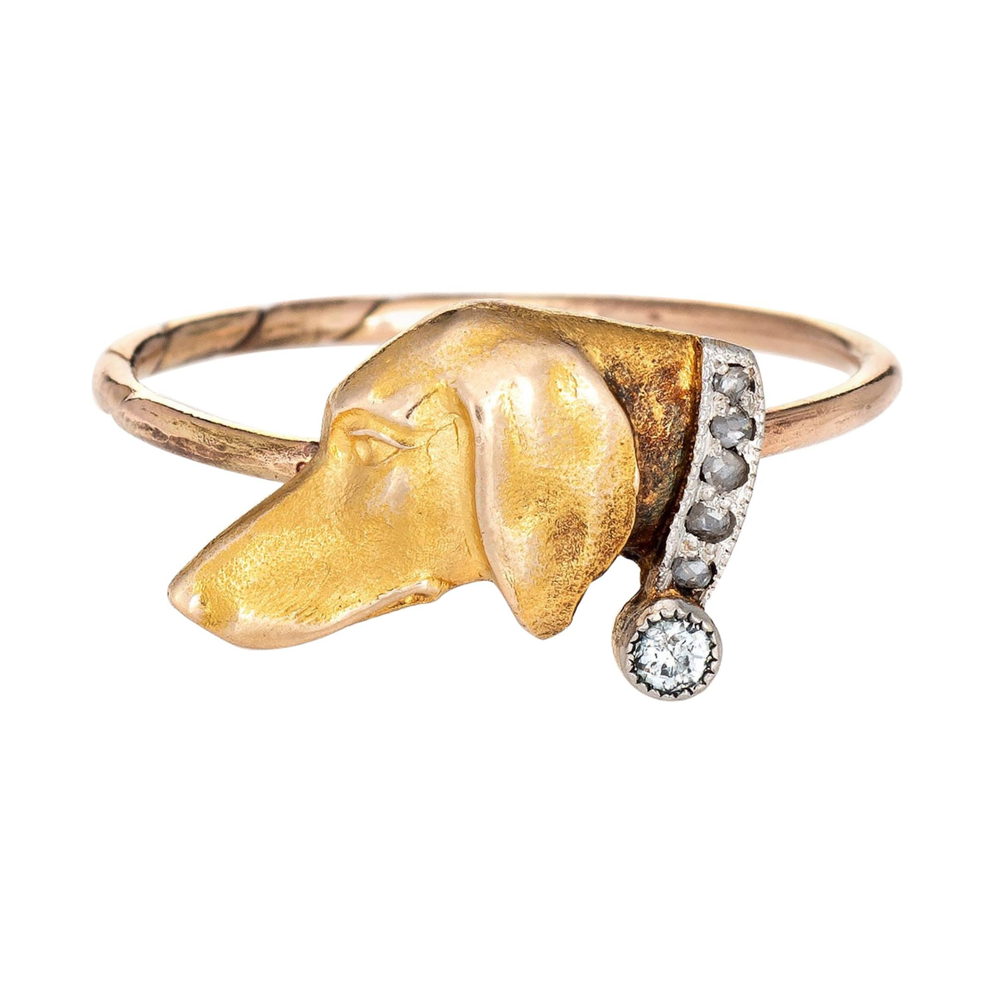 Antique Victorian Dog Conversion Ring 14k Yellow Gold Hound Animal Jewelry